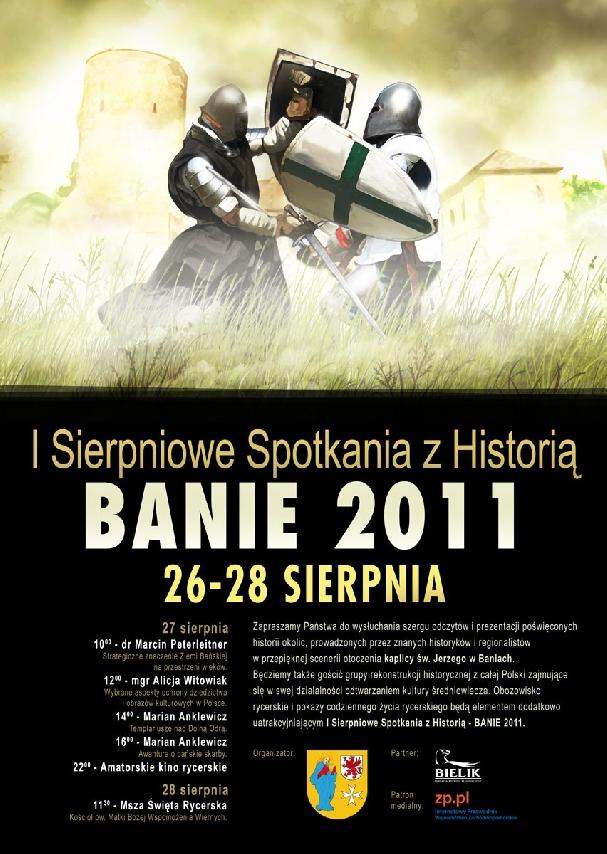 Oficjalny plakat: Sierpniowe Spotkania z Historią w Baniach 2011